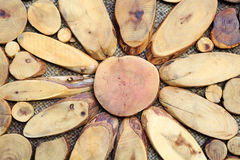 Hintergrundscheiben eines Holzes Stockfotos