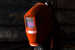 Hintergrundschweißensmaske in der linken Seite des Bildes Leerstelle für einen Text Industrielles Konzept Lizenzfreie Stockfotos
