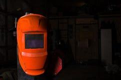 Hintergrundschweißensmaske in der linken Seite des Bildes Leerstelle für einen Text Industrielles Konzept Lizenzfreie Stockfotografie