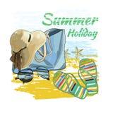 Hintergrundsommer mit Beschriftung simst, Recliner auf dem Sand mit Stockfoto