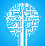 Hintergrundsozialnetz-Baumblau Stockfoto