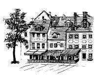 Hintergrundstadtbildansichten der schönen alten Häuser in Riga Stockbild