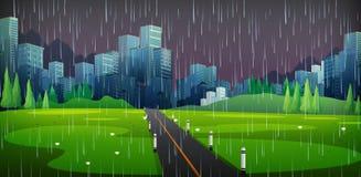 Hintergrundszene mit dem Regnen in der Stadt stock abbildung