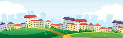 Hintergrundszene mit Dorf auf den Hügeln stock abbildung