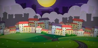 Hintergrundszene mit Häusern im Dorf auf den Hügeln stock abbildung