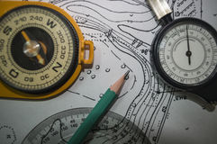 Hintergrundtopographie ein Bleistift ein alter Kompass und eine Karte Stockbilder