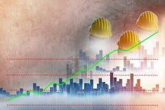 Hintergrundunschärfegebäude und -bau Männlicher tragender Schutzhelm, Arbeitsmittel Diagramme, Statistiken zeigt das Positiv an stockbild