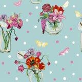 Hintergrundvasenglasblumenstraußes der Vektorblume nahtloses Muster des bunten stock abbildung