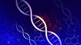 Hintergrundvektor des DNA-Biochemiekonzeptes blauer Farb Stockbild