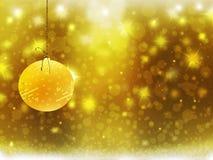 Hintergrundweihnachtsgoldgelbballschnee-Sterndekorationen verwischen neues Jahr der Illustration Stockfotos