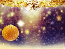 Hintergrundweihnachtsgoldgelbherzrotwildballschnee-Sterndekorationen verwischen neues Jahr der Illustration Stockbild
