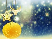 Hintergrundweihnachtsgoldverwischen blaue gelbe Herzballrotwildschnee-Sterndekorationen neues Jahr der Illustration Lizenzfreies Stockfoto