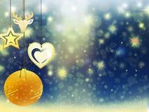 Hintergrundweihnachtsgoldverwischen blaue gelbe Herzrotwildballschnee-Sterndekorationen neues Jahr der Illustration Lizenzfreie Stockbilder