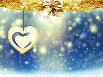 Hintergrundweihnachtsgoldverwischen blaue gelbe Herzschnee-Sterndekorationen neues Jahr der Illustration Stockbild