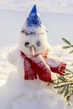 Hintergrundwinter-Landschaftsschneemann in einer hellen blauen Kappe und in einem roten Schal im Schnee Stockbilder