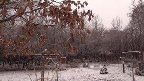Hinterhof mit helle Schneefälle stock video footage