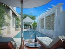 Hinterhof mit unterhaltsamem Bereich und Pool, 3d Stockfoto