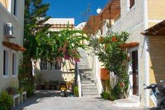 Hinterhof Santorini Griechenland Stockbild