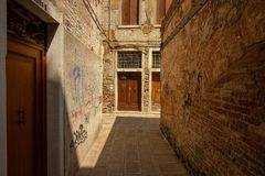 A small alley in Venice stock photography