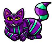Hinterlistige purpurrote Cheshire Cat steht still stock abbildung