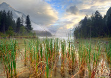 Hintersee. Lake Hintersee in germany a day  whit clouds Stock Photo