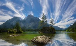 Hintersee Lake in Bavarian Alps Royalty Free Stock Photography
