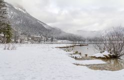 Hintersee at winter time stock photography