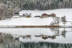 Hintersee at winter time royalty free stock image