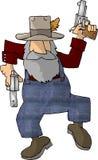 Hinterwäldler mit zwei Pistolen Stockfoto