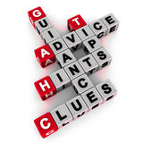 Hints tips and clues. Hints, tips, clues advice and guidance in a crossword on white background Stock Photos