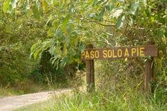 Hinweisend unterzeichnen Sie herein den Park, Montevideo Uruguay Stockfotografie