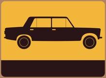 Hinweisschild mit Autoschattenbild. stock abbildung