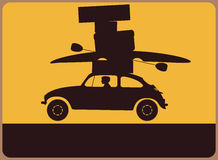 Hinweisschild mit einem Schattenbild des Autos mit dem Gepäck. vektor abbildung