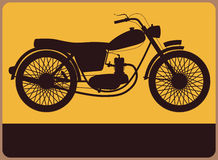Hinweisschild mit Retro- Motorrad. lizenzfreie abbildung