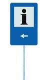 Hinweiszeichen im Blau, Buchstabeikone des Schwarzen I, weißer Rahmen, linke Hand, die Pfeil, lokalisierten Straßenrandinformatio Stockfoto
