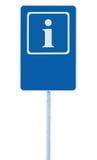 Hinweiszeichen im Blau, Buchstabeikone des Weiß I und Rahmen, leerer leerer Kopienraumhintergrund, lokalisierter Straßenrandinfor Lizenzfreie Stockbilder
