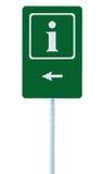 Hinweiszeichen im Grün, Buchstabeikone des Weiß I und Rahmen, linke Hand, die Pfeil, lokalisierten Straßenrandinformationen Signa Lizenzfreie Stockfotografie