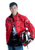 Hip Asian motorcycle rider Stock Photos