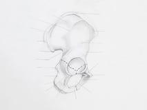 Hip bone pencil drawing stock image