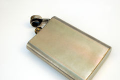 Hip flask 2. On white background royalty free stock photos