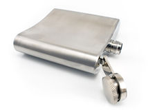 Hip flask for alcohol Stock Images