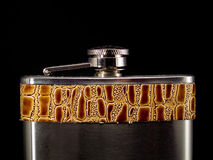 Hip Flask on Black Royalty Free Stock Photography