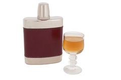 Hip flask with brandy Stock Image