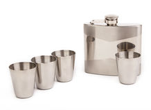Hip flask with cups Royalty Free Stock Photo