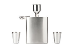 Hip flask with cups Royalty Free Stock Photography