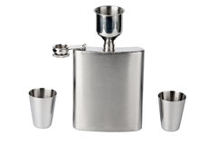 Hip flask with cups Stock Images