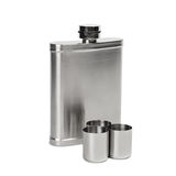 Hip flask and cups with white background with clipped path Royalty Free Stock Photos