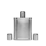 Hip flask and cups with white background with clipped path Stock Photography