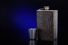 Hip flask  for whisky or cognac. Royalty Free Stock Image