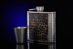 Hip flask  for whisky or cognac. Royalty Free Stock Images